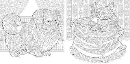 Coloring Pages. Cat on pillows. Pekingese or Japanese Chin Dog. Adult Coloring Book idea. Antistress freehand sketch drawing with doodle elements. Vector illustration.