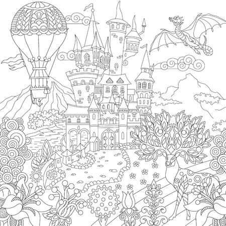 Fairy tale picture. Fairytale landscape with vintage castle, dragon, magic deer, hot air balloon. Coloring Page. Adult Coloring Book idea. Antistress freehand sketch drawing. Illustration
