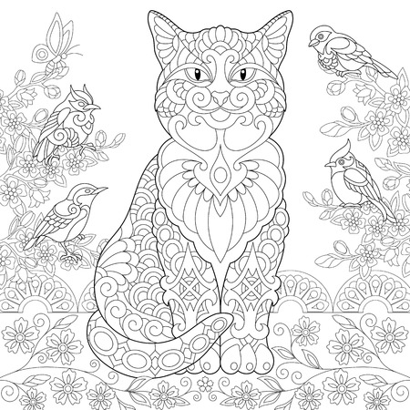 Cat And Spring Birds In The Garden Coloring Page Colouring