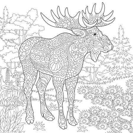 Moose, woodland animal. Forest landscape. Coloring Page. Colouring picture. Adult Coloring Book idea. Freehand sketch drawing. Vector illustration.