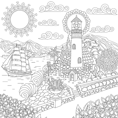 Lighthouse on sea shore and sailing ship. Coloring Page. Colouring picture. Adult Coloring Book idea. Freehand sketch drawing. Vector illustration.