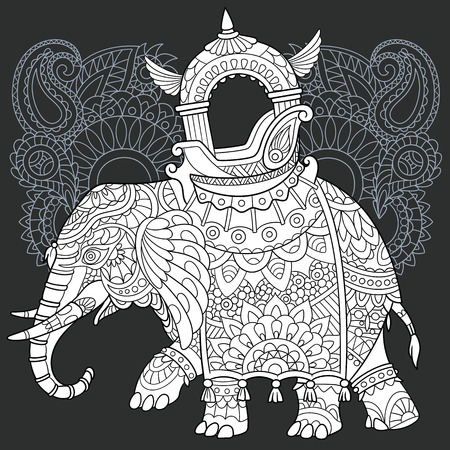 Elephant drawn in line art style. Paisley lace background in black and white colors on chalkboard. Coloring book. Coloring page.  vector illustration.