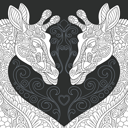Giraffes drawn in line art style. Lace background in black and white colors on chalkboard. Coloring book. Coloring page.  vector illustration.  イラスト・ベクター素材