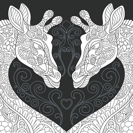 Jirafas dibujadas en estilo de arte lineal. Fondo de encaje en colores blanco y negro en la pizarra. Libro de colorear. Página para colorear. ilustración vectorial.