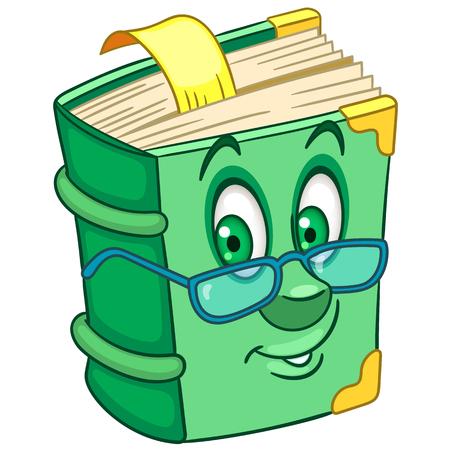Książka. Stary vintage podręcznik, encyklopedia, słownik lub książka z bajkami. Szczęśliwy projekt kreskówki dla dzieci do kolorowania, nadruk na koszulce, ikona, logo, etykieta, naszywka, naklejka.