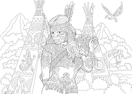 Native American Indian. Apache Woman. Coloring Page. Colouring picture. Adult Coloring Book idea. Freehand sketch drawing. Vector illustration.