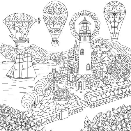 Leuchtturm. Segelschiff. Luftschiff. Heißluftballons. Malvorlagen. Malbild. Malbuch. Freihandskizzenzeichnung. Vektorillustration.