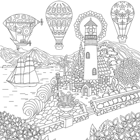 Lighthouse. Sailing ship. Dirigible. Hot air balloons. Coloring page. Colouring picture. Coloring book. Freehand sketch drawing. Vector illustration. Stock Illustratie