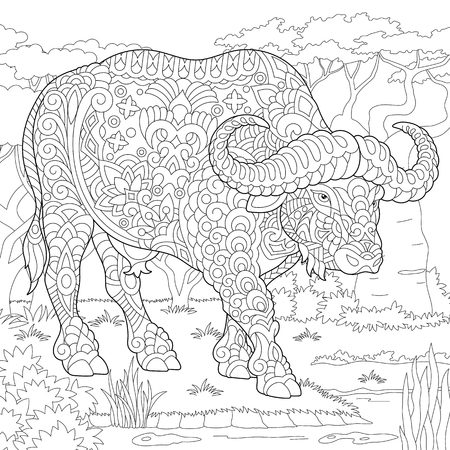 Buffalo. Bull. Coloring Page. Colouring picture. Adult Coloring Book idea. Freehand sketch drawing. Vector illustration.