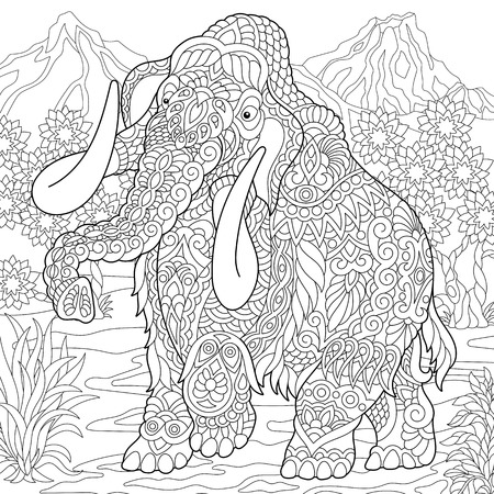 Mammoth. Extinct elephant of the Pleistocene epoch. Coloring page. Colouring picture. Coloring book. Freehand sketch drawing. Vector illustration. Ilustração
