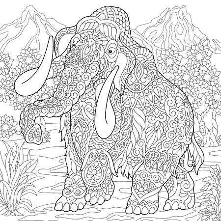 Mammouth. Éléphant éteint de l'époque du Pléistocène. Coloriage. Image à colorier. Livre de coloriage. Dessin d'esquisse à main levée. Illustration vectorielle.