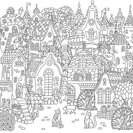 Sprookjesachtige stad. Stad landschap. Fantasie stadsgezicht met vintage huizen en katten. Kleurplaat. Kleurplaat. Kleurboek. Schetstekening uit de vrije hand. Vector illustratie.