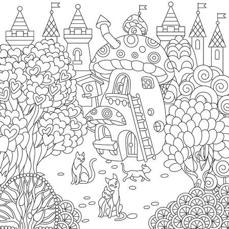 Ciudad de fantasía. Casa de setas de cuento de hadas, árboles en forma de corazón mágico y gatos. Página para colorear. Imagen para colorear. Libro de colorear. Dibujo de boceto a mano alzada. Ilustración de vector.