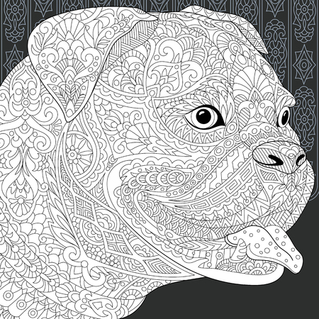 Bulldog. Pit Bull Terrier drawn in line art style. Lace background in black and white colors on chalkboard. Coloring book. Coloring page. Illustration