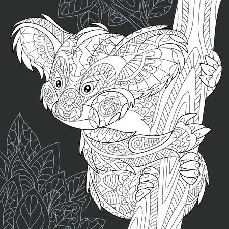 Koalabär gezeichnet im Strichkunststil. Dschungelhintergrund in den Schwarzweiss-Farben auf Tafel. Malbuch. Malvorlagen.