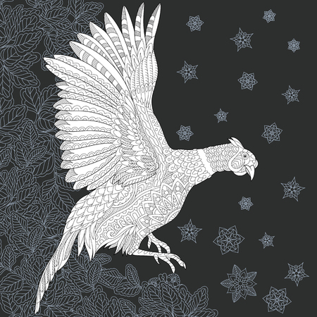 Pheasant drawn in line art style. Leafed background in black and white colors on chalkboard. Coloring book. Coloring page.
