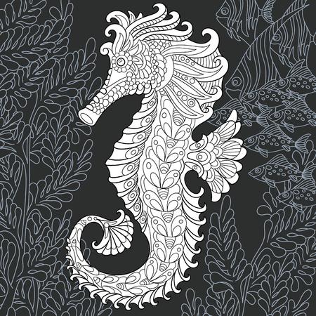 Caballito de mar dibujado en estilo de arte lineal. Fondo del océano en colores blanco y negro en la pizarra. Libro de colorear. Página para colorear. Ilustración de vector