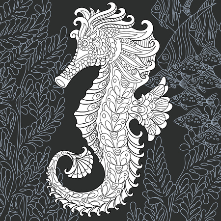 Sea horse drawn in line art style. Ocean background in black and white colors on chalkboard. Coloring book. Coloring page.