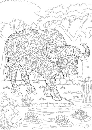 Coloring Page. Coloring Book. Colouring picture with bull (buffalo, bison). Antistress freehand sketch drawing with doodle