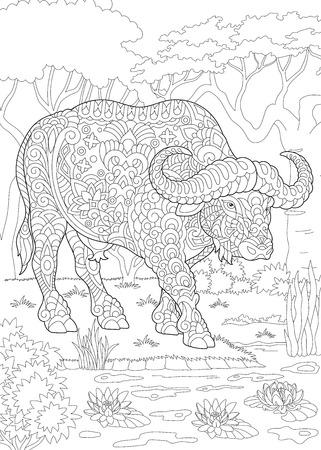 Pagina da colorare. Libro da colorare. Immagine da colorare con toro (bufalo, bisonte). Schizzo a mano libera antistress disegno con doodle Vettoriali