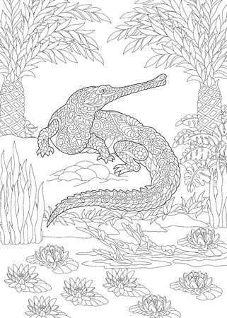 Coloring Page. Coloring Book. Colouring picture with crocodile. Antistress freehand sketch drawing with doodle