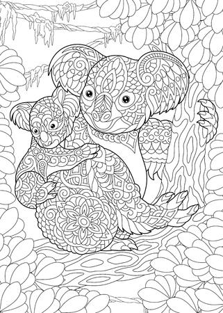 Página para colorear. Libro de colorear. Cuadro para colorear con osos koala. Dibujo a mano alzada antiestrés con doodle