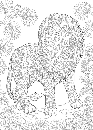 Coloring Page. Coloring Book. Colouring picture with lion. Antistress freehand sketch drawing with doodle