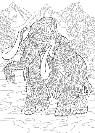 Coloring Page. Coloring Book. Colouring picture with mammoth. Antistress freehand sketch drawing with doodle