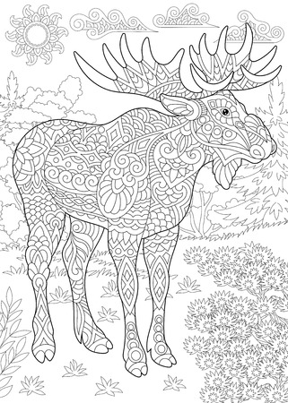 Coloring Page. Coloring Book. Colouring picture with moose. Antistress freehand sketch drawing with doodle
