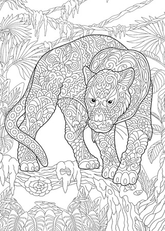 Coloring Page. Coloring Book. Colouring picture with Black Panther. Antistress freehand sketch drawing with doodle