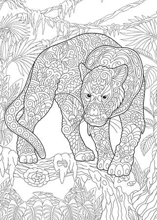 Pagina da colorare. Libro da colorare. Foto da colorare con Black Panther. Schizzo a mano libera antistress disegno con doodle