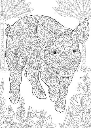 Coloring Page. Coloring Book. Colouring picture with Pig. Cute Piggy - 2019 Chinese New Year symbol. Antistress freehand sketch drawing with doodle