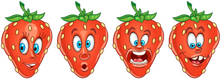 Strawberry. Fruit Food concept. Emoji Emoticon collection. Cartoon characters for kids coloring book, colouring pages, t-shirt print, icon, logo, label, patch, sticker. Ilustração