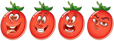 Tomato. Vegetable Food concept. Emoji Emoticon collection. Cartoon characters for kids coloring book, colouring pages, t-shirt print, icon, logo, label, patch, sticker.