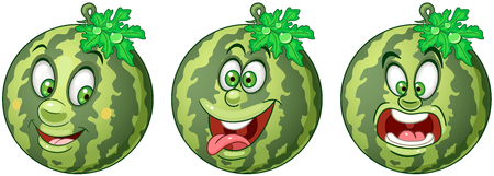 Watermelon. Fruit Food concept. Emoji Emoticon collection. Cartoon characters for kids coloring book, colouring pages, t-shirt print, icon, logo, label, patch, sticker. Ilustração