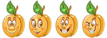 Apricot. Healthy Food concept. Emoji Emoticon collection. Cartoon characters for kids coloring book, colouring pages, t-shirt print, icon, logo, label, patch, sticker. Ilustração