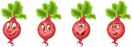 Beet. Beetroot. Healthy Food concept. Emoji Emoticon collection. Cartoon characters for kids coloring book, colouring pages, t-shirt print, icon, logo, label, patch, sticker. Ilustração