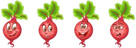 Barbabietola. Barbabietola. Concetto di cibo sano. Collezione di Emoticon Emoji. Personaggi dei cartoni animati per bambini libro da colorare, pagine da colorare, stampa t-shirt, icona, logo, etichetta, patch, adesivo.