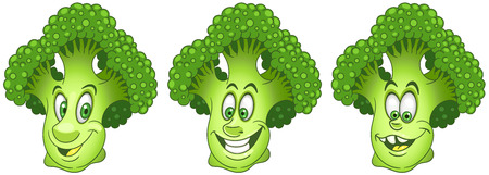 Broccoli. Healthy Food concept. Emoji Emoticon collection. Cartoon characters for kids coloring book, colouring pages, t-shirt print, icon, logo, label, patch, sticker.