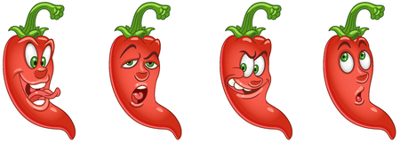 Red Chili Pepper. Vegetable Food concept. Emoji Emoticon collection. Cartoon characters for kids coloring book, colouring pages, t-shirt print, icon, logo, label, patch, sticker. Ilustração