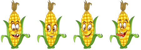 Corn Cob. Vegetable Food concept. Emoji Emoticon collection. Cartoon characters for kids coloring book, colouring pages, t-shirt print, icon, logo, label, patch, sticker. Ilustração