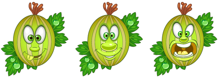 Gooseberry. Fruit Food concept. Emoji Emoticon collection. Cartoon characters for kids coloring book, colouring pages, t-shirt print, icon, logo, label, patch, sticker.