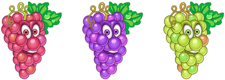 Grapes. Fruit Food concept. Emoji Emoticon collection. Cartoon characters for kids coloring book, colouring pages, t-shirt print, icon, logo, label, patch, sticker.