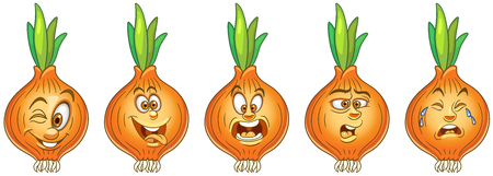 Onion. Vegetable Food concept. Emoji Emoticon collection. Cartoon characters for kids coloring book, colouring pages, t-shirt print, icon, logo, label, patch, sticker.
