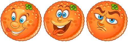 Orange. Fruit Food concept. Emoji Emoticon collection. Cartoon characters for kids coloring book, colouring pages, t-shirt print, icon, logo, label, patch, sticker.
