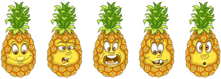 Pineapple. Fruit Food concept. Emoji Emoticon collection. Cartoon characters for kids coloring book, colouring pages, t-shirt print, icon, logo, label, patch, sticker.