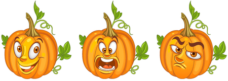 Pumpkin. Halloween holiday symbol. Vegetable concept. Emoji Emoticon collection. Cartoon characters for kids coloring book, colouring pages, t-shirt print, icon, logo, label, patch, sticker.