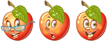 Apple. Healthy Food concept. Emoji Emoticon collection. Cartoon characters for kids coloring book, colouring pages, t-shirt print, icon, logo, label, patch, sticker. Ilustração