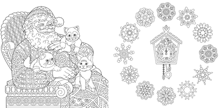 Christmas. New Year. Coloring Pages. Coloring Book for adults. Santa Claus and cats. Vintage snowflakes. Antistress freehand sketch drawing with doodle and elements.