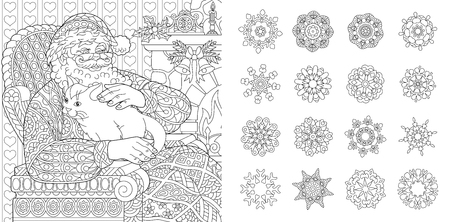 Colouring Pages. Coloring Book for adults. Santa Claus with a cat. New Year background. Christmas vintage decorations. Snowflake set.
